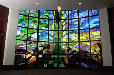 View of Stained Glass wall
